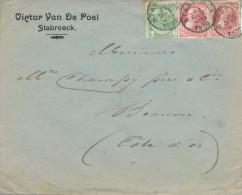 031/20 - Lettre TP Grosse Barbe Et Armoiries STABROECK 1909 Vers BEAUNE France - Entete Victor Van De Poel - 1905 Grosse Barbe