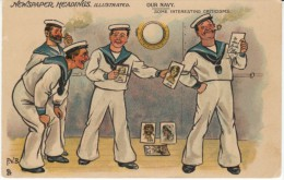 'PVB' Artist Signed British Navy Humour Tuck Series 1757, Sailors Look At Pictures C1900s Vintage Postcard - Humour