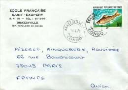 1978  Lettre   Pour La France  Poisson Mongandza - Congo - Brazzaville