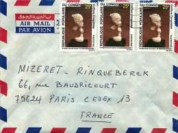 1981  Lettre   Pour La France   Figurine D'ivoire - Congo - Brazzaville