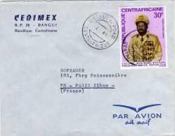 LETTRE  AVEC LE TIMBRE COLONEL JEAN BEDEL BOKASSA PRESIDENT DE LA REPUBLIQUE ( MEDAILLES ) POSTE AERIENNE 1969 - A VOIR - Célébrités