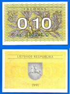 Lituanie 0.10 Talonas 1991 Sans Texte Nombre Vert Neuf UNC Plant Litu Paypal Skrill Bitcoin Ok - Lituanie