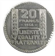 France - 20 Francs - Turin - 1934 - TTB+ - Argent 680/00 - L. 20 Franchi