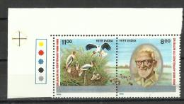 INDIA, 1996,Birth Centenary Of Dr Salim Moizuddin Abdul Ali, Ornithologist, Ecologist,  Setenant  2 V, T/Ls,  MNH, (**) - India