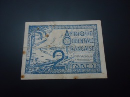 1944 FRENCH WEST AFRICA VERY VERY RARE 2 FRANCS ( P 35 ) - Otros – Africa