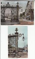 NANCY 54 - Place Stanislas - Grilles En Fer Forgé Jean Lamour : Petit Lot De 2 CPSM GF Et PF  - Meurthe Et Moselle - Nancy