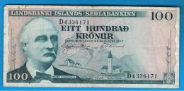ISLANDIA - ICELAND -  100 Kronur 1957  P-40 - Islande