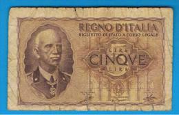 ITALIA - ITALY =  5 Liras 1940  P-28 - [ 5] Trésor