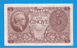 ITALIA - ITALY =  5 Liras 1944 SC   P-31 - [ 5] Tesoro