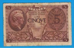 ITALIA - ITALY =  5 Liras 1944 Circulado   P-31 - [ 5] Trésor