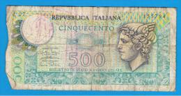 ITALIA - ITALY =  500 Liras 1974  P-94 - [ 5] Tesoro