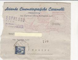 A2209 - 50£ Timbro Rosso Artisti Associati + 5 £ Dem Su Racc. Espresso Aziende Cinematografiche VG Roma-To 0 - 6. 1946-.. Repubblica