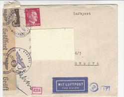 A2278 - Germania III° REICH Affrancatura Mista  Su Busta  Posta Aerea Censura Nazista  VG Berlino-Genova - Briefe U. Dokumente