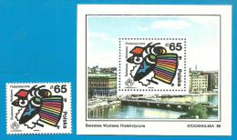 POLAND 1986 WORLD PHILATELIC EXHIBITION SWEDEN STOCKHOLM 86 STAMP EXPO & MS NHM Art Birds Exhibition Children Art - 1944-.... Republic