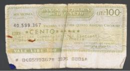 ITALIA - ITALY =  100 Liras Banca Cattolica Del Veneto 1976 - [ 4] Emisiones Provisionales