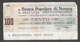 ITALIA - ITALY =  100 Liras Banca Populare Di Novara - [ 4] Emisiones Provisionales