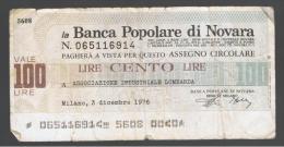 ITALIA - ITALY =  100 Liras Banca Populare Di Novara - [ 4] Voorlopige Uitgaven