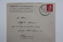Enveloppe 1942 Wissembourg --> Haguenau, Affr. 12pf Type A.Hitler / Cachet à Date Illustré - Alsace-Lorraine