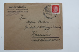 Enveloppe 1942 Wissembourg --> Haguenau  Affr. 12pf Type A.Hitler   / Cachet à Date Illustré - Alsace-Lorraine