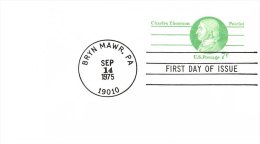 USA Unaddressed  7c Postal Stationery Card Charles Thomson Patriot FDC Postmarked Bryn Mawr PA 14 Nov 1975 - Ganzsachen