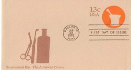 USA Unaddressed 13c Postal Stationery Envelope The American Doctor Postmarked Dallas TX 30 Jun 1976 - Ganzsachen