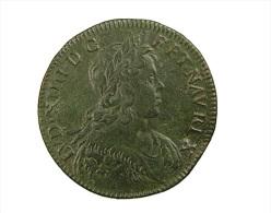 France - Jeton  -   Royal - Armis  Tutae Leges  - 1645 - Belle Patine Verte - Feu.12455 - TTB - Royal / Of Nobility