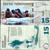 ARCTIC TERRITORIES 15 DOLLARS 2011 POLAR POLYMER UNC - Banconote