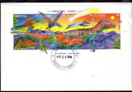 S816.-. DINOSAURS / DINOSAURIOS.-. ST. VINCENT FDC S/S.  1994 - Stamps