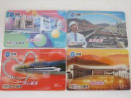 China Railcom Prepaid Card, 50 Anne. Of Liuzhou Railway,set Of 4, Used - Treni