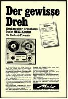 Reklame Werbeanzeige  -  Metz Tonbandgerät  -  Der Gewisse Dreh  -  Von 1967 - Wissenschaft & Technik