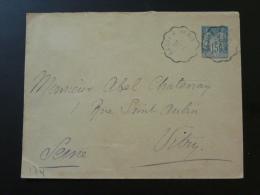 Entier Postal Type Sage 15c Cachet Ambulant Ferroviaire Lagny à Paris 1897 - Entiers Postaux