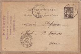 """OISE - ENTIER POSTAL - COMPIEGNE - TAMPON """" P. HEMERY , MATERIAUX DE CONSTRUCTION ... """" - 1896 - Compiegne"""