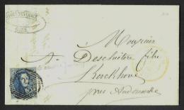 """(R219) Belgique - Médaillon N°7 Lettre De Gand (Gent) Vers Kerckhove Du 25/04/1852 + Variété """"cadre Prolongé à Droite"""" - 1851-1857 Medallions (6/8)"""