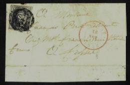 (R220) Belgique - Médaillon N°6 Grand Fragment De Mettet Vers Fosses Du 18/11/1852 - Curiosité Ou Variété Cadre Prolongé - 1851-1857 Medallions (6/8)