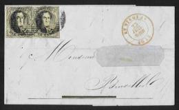 (R222) Belgique -Médaillon N°6 (paire) Sur Lettre De Saint Nicolas à Bruxelles Du 23/07/1855 + Curiosités D'encrage - 1851-1857 Medallions (6/8)