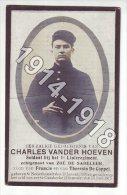 1914-1918 - NEDERHASSELT - KAASKERKE - Doodsprentje † 1915 Van Der Hoeven Charles, Soldaat 1e Linie - 1914-18