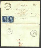 (R223) Belgique - Médaillon N°7 (paire Et Bdf) Lettre De Annevoie D75 (NIPA + 1000) à Bousignies (France) Du 01/06/1857 - 1851-1857 Medallions (6/8)