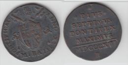ITALIE (ETATS PAPAUX) - ITALIA (PAPAL STATES) **** MEZZO BAIOCCO MDCCCXVI 1816-XVII B PIUS VII **** EN ACHAT IMMEDIAT - Vaticano (Ciudad Del)