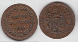 ITALIE (ETATS PAPAUX) - ITALIA (PAPAL STATES) **** MEZZO BAIOCCO 1845 XV R GREGORY XVI **** EN ACHAT IMMEDIAT - Vaticano (Ciudad Del)