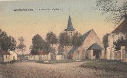 77 AUBEPIERRE Vers Mormant  Belle CPA Gaufrée Couleur  Maisons Du VILLAGE EGLISE  En 1915 - Francia