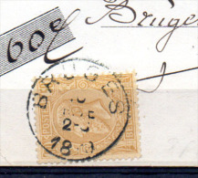 Léopold II Sur Reçu, 50 Ob, Cote 50 €, - 1883 Léopold II