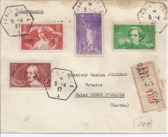 Recette Auxilliaire, 5-4-37 - Postmark Collection (Covers)
