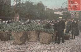 PARIS 1er  Belle CPA Colorisée Les HALLES  Pointe St Eustache Carreau Des ARTICHAUTS Animé 1911 - Arrondissement: 01