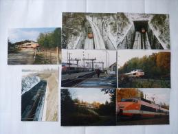 DOLE (25) TGV FRANCE En Février, Avril Et Novembre 1991 - Lot De 8 CPM - Trains