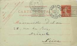 ENTIER POSTAL 10 CENTIMES SEMEUSE JUILLET 1914 CACHET DEPART  BORDEAUX  CACHET ARIVEE ARCUEIL - Entiers Postaux