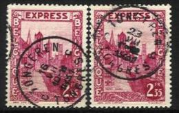 "Belgique - N012 - Expres - N°292D 2ex. Gand-Gent   Obl. TONGEREN-TONGRES Curiosité ""fils Téléphoniques"" - Sonstige"