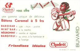 BUVARD FRIANDISES CHADESS TOURCOING BATONS CARAMEL ... MUSICIEN NOIR JOUANT GUITARE - Alimentaire