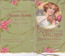 """CALENDARIETTO  """"SOGNO D'UN VALZER"""" CROMO PROFUMATO 'ESSENZA """"ARABIS ALPINA"""" F.LLI CELLA MILANO  1911 -2-0882-17385-384 - Petit Format : 1901-20"""
