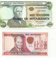 MOZAMBIQUE . LOT DE 2 BILLETS . - Mozambique