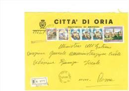 ORIA - 72024 - PROV. BRINDISI - R - FORMATO 18X24 - TEMA TOPIC COMUNI D´ITALIA - STORIA POSTALE - Affrancature Meccaniche Rosse (EMA)